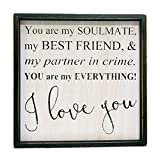 Soulmate Best Friend Everything Love You 15 x 15 Inch Wood Framed Hanging Wall Plaque
