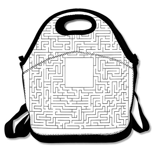 Complex Maze Puzzle Game Empty Panel High Level Waterproof Reusable Lunch Bags For Men Women Adults Kids Toddler Nurses With Adjustable Shoulder Strap