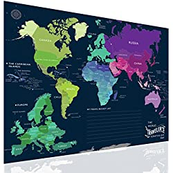 The World Traveler's Scratch-off Map 32'' x 24'' Poster for Adventurers Wanderlusts Geography Geeks