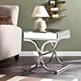 Southern Enterprises Ava Mirrored End Table, Chrome Frame Finish