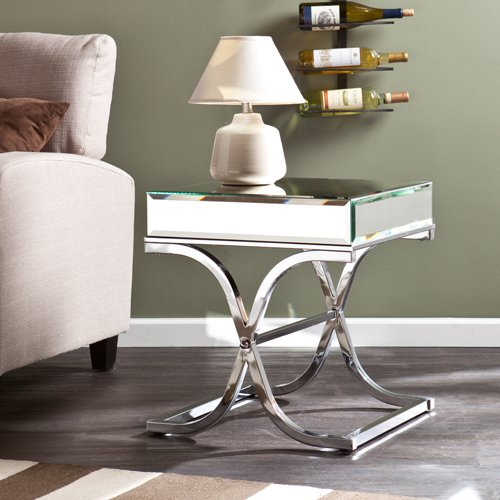 Ava Mirrored End Table in Chrome Finish