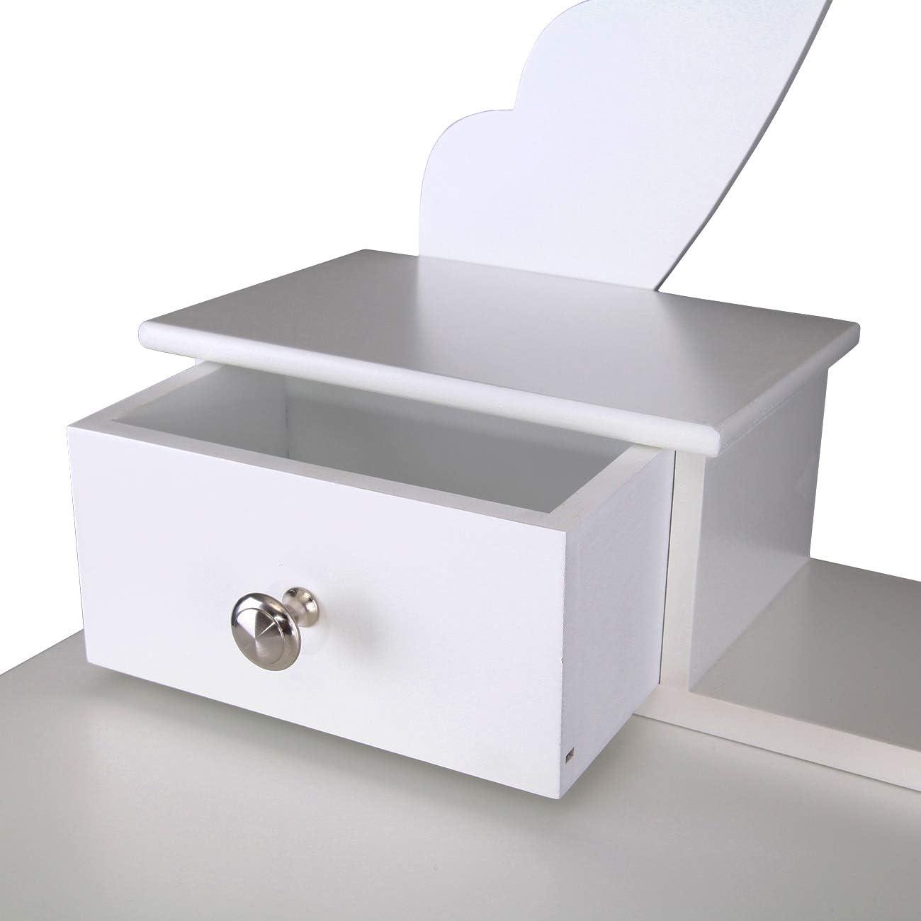1 Sgabelli Colore Bianco Makeup Desk Set BDT1255 5 Cassetti 1 Specchio XuanYue Specchiera Tavolo Bianco Vanity Trucco Toeletta 5 Cassetti con Specchio Ovale e Cassetti per Bambine