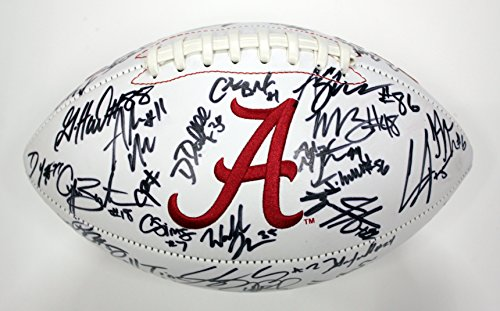 (Alabama Crimson Tide 2015 National Champions Team Signed Autographed White Panel Logo Football Saban Henry Ridley)