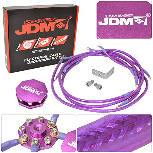 JDM Sport Universal 10MM 8 Point Octagon Earth Ground Grounding Wire Cable Kit System Purple -