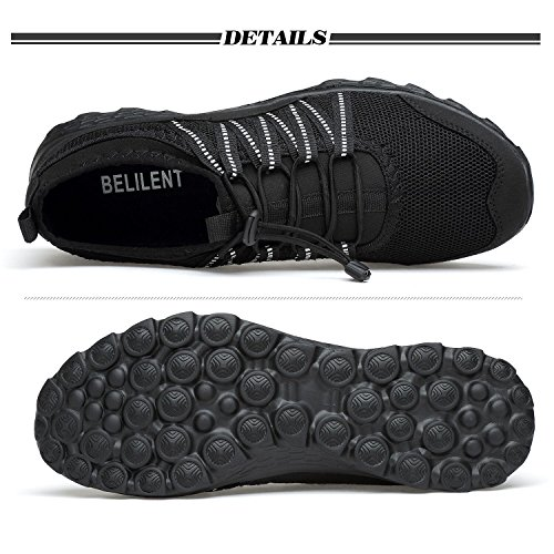 Belilent Herren Athletic Laufschuhe - Casual Fitness Schuhe Fashion Sneakers Leichtes Mesh Soft Sole Alles schwarz