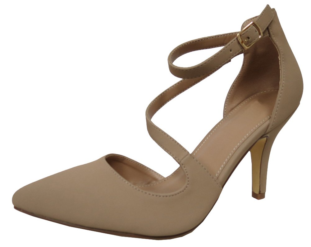 Cambridge Select Women's Closed Pointed Toe Buckled Crisscross Strap Stiletto Mid Heel Pump B079Q4JFCB 10 B(M) US|Natural