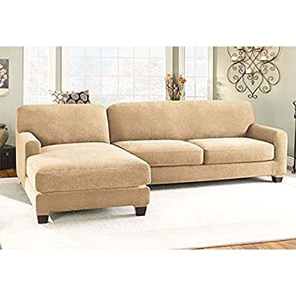 Amazon Stretch Pique Sectional with Side Chaise Cover Home