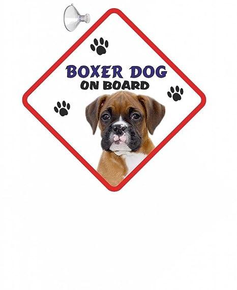 Boxer (Giovani) perro Cartel de coche con ventosa de goma 43 ...