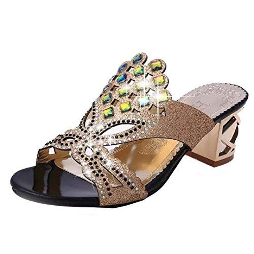 Imitación Manera del Zapatos Diamante de Mujeres Tacón Negro Las de Playa de Sandalias OHQ Verano del para Sandalias de Mujeres Nuevas Grandes Señoras de Alto la Sandalias nqW6xIB