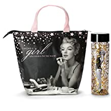 Marilyn Monroe Lunch Tote & Bottle: Insulated Lunch Bag and Gold Confetti Water Bottle Gift Set