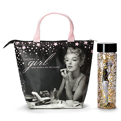 Marilyn Monroe Lunch Tote & Bottle: Insulated Lunch Bag and Gold Confetti Water Bottle Gift Set ()