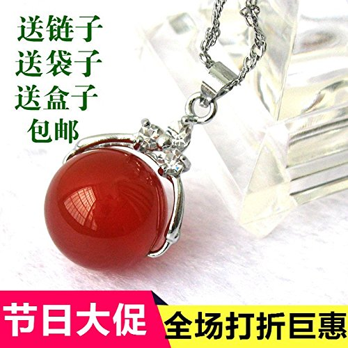usongs Preferential crystal jade necklace pendant carnelian agate silver inlay s925 men and women girls models transfer beads necklace pendant Passepartout