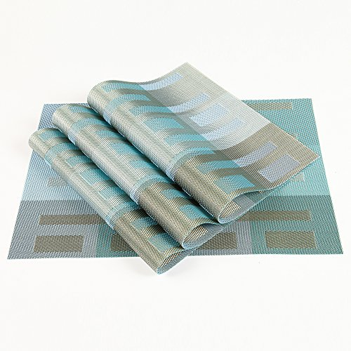 Woven Placemats for dining table, Heat Insulation Stain-resistant Woven Vinyl Kitchen Place Mats, Set of 4 (Light (Light Blue Placemat)