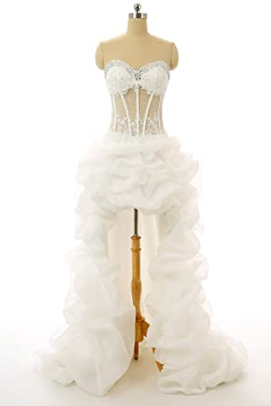 Vantexi Womens Short Front Long Back Wedding Dress Prom Gown at