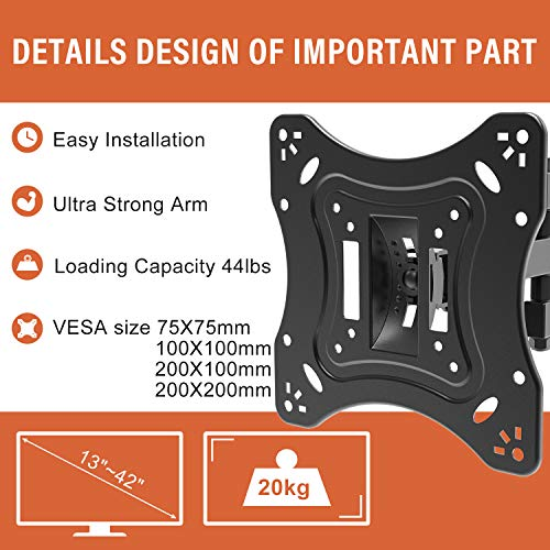 PUTORSEN® TV/Monitor Wall Bracket Mount Swivel and Tilt for Most 13''-42'' LED, LCD, OLED Flat Screen TVs and Monitors with VESA 75x75-200x200mm up to 20 KG, Full Motion Monitor Wall Bracket
