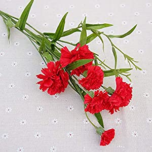 Meiyum Artificial Dianthus Flowers, Fake Carnations Silk Flowers Bouquets Wedding Decor 63