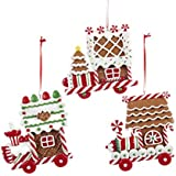 Clay Dough Gingerbread Flat Train Ornaments (set OF 3 Assorted)