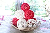 Christmas Gift : Natural Small Wicker Balls With Two Tone Color Red And White For DIY Vase And Bowl Filler Ornament, Decorative Spheres Balls Perfect For Decoration And Party 2 - 2.5 inch, 12 Pcs.