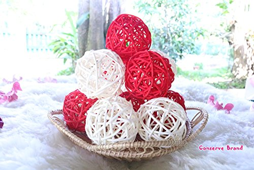 Christmas Gift : Natural Small Wicker Balls With Two Tone Color Red And White For DIY Vase And Bowl Filler Ornament, Decorative Spheres Balls Perfect For Decoration And Party 2 - 2.5 inch, 12 Pcs. by Conserve's Rattan Ball