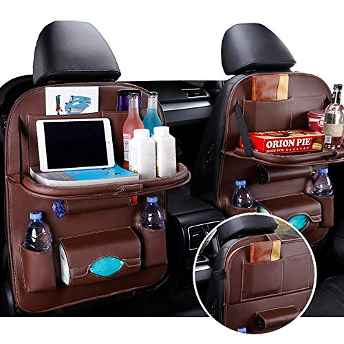Sabia Car Seat Organizer, 2 Pcs Seatback Auto Kick Mat Back Seat Protector for Kids with Multi Storage Pocket for Touch Screen Tablet Holder Bottle Drink Toys(Black, 2 Pack)