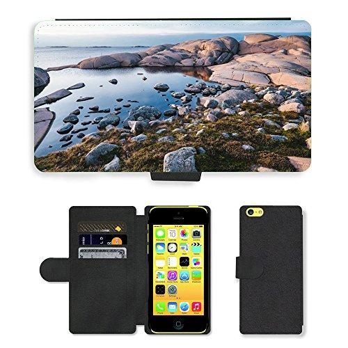 PU Leather Cover Custodia per // M00421571 Pierres Rocks Ocean Water Nature // Apple iPhone 5C