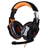 VersionTECH. G2000 Stereo Gaming Headset for Xbox one PS4 PC, Surround Sound Over-Ear Headphones with Noise Cancelling Mic, LED Lights, Volume Control for Laptop Mac iPad Nintendo Switch - Orange