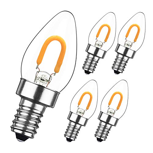 GEZEE 1W LED Filament C7 Night Light Bulb,Warm White 2700K, E12 Candelabra Base Lamp C7 Mini Tubular Shape,Refrigerator Indicator Bulb,10W-12W Incandescent Equivalent, Non-dimmable,(5-Pack)