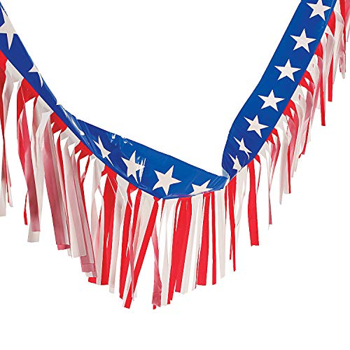 Fun Express - Patriotic Plastic Fringe Garland for Fourth of July - Party Decor - Hanging Decor - Misc Hanging Decor - Fourth of July - 1 Piece ()