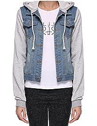 Womens Loose Button Down Boyfriend Washed Blue Denim Jersey Hoodie Outerwear Hooded Jean Jacket Coat