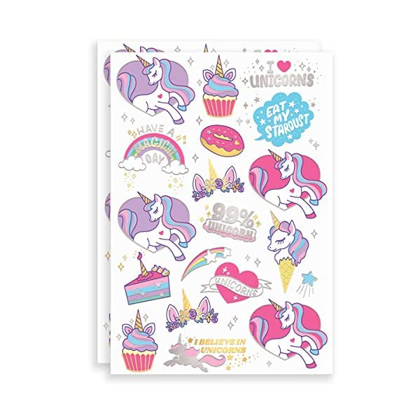 xo, Fetti Unicorn Party Supplies Temporary Tattoos for Kids - 36 Glitter Styles | Unicorn Party Favors and Birthday Decorations + Halloween Costume 4