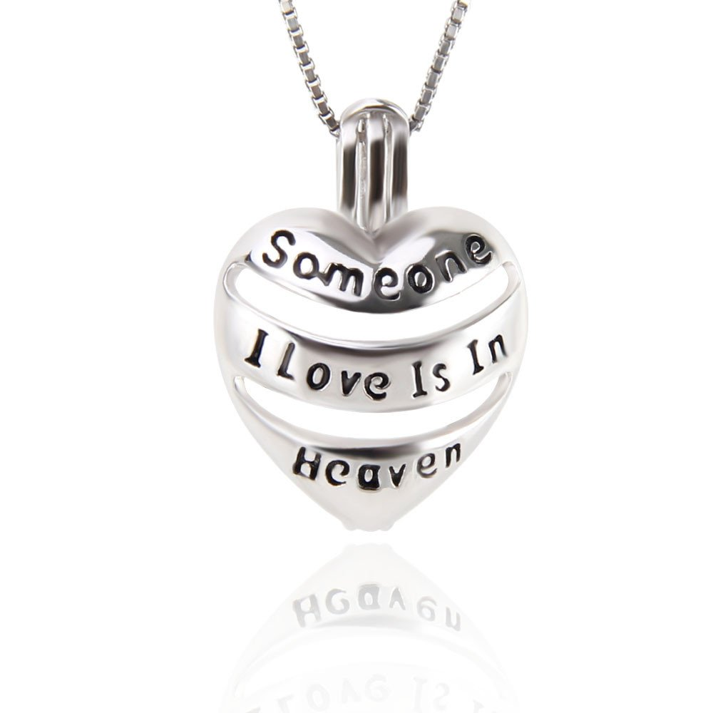 1 Piece 925 Sterling Silver Engraved Heart 'Someone I Love Is In Heaven' Locket Pendant Memorial Gift