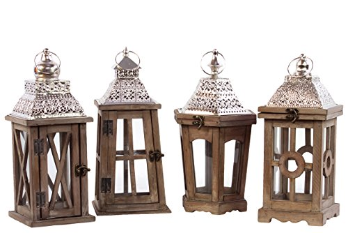 Urban Trends Wood Square Lantern with Silver Pierced Metal Top Ring Hanger and Glass Windows Assortment of Four Stained Wood Finish by Urban Trends (Image #1)