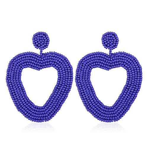 - Statement Beaded Hoop Earrings, Drop Dangle Heart Earrings Bohemian for Women Girl Novelty Fashion Summer Accessories - VE135 Royal Blue