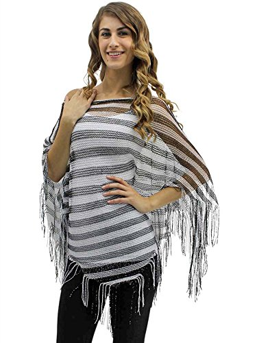 Buy luxury divas metallic mesh poncho shawl