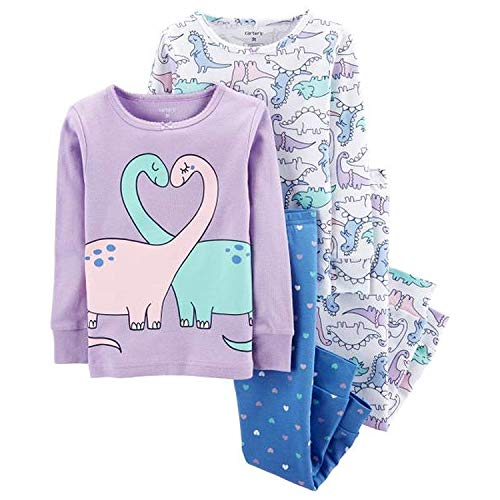 Carter's Baby Girls' 4 Pc CottonPJ, Double Dino (12 Months) ()