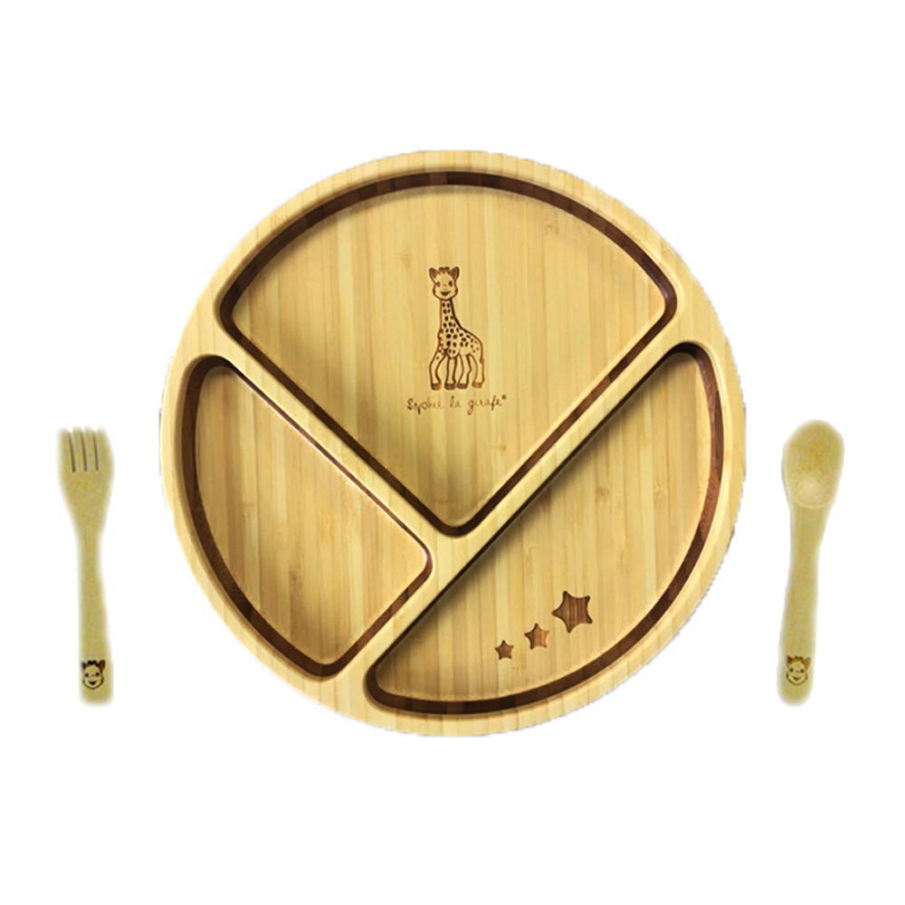 FUNFAM Japanese Bamboo Made Sophie la Girafe (Sophie The Girafe) Plate Set SOPHIE-2015-01