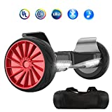 NHT Hoverboard - All Terrain Rugged 8.5 Inch Wheels Off-Road Electric Smart Self Balancing Scooter with Built-in Bluetooth Speaker LED Lights - UL2272 Certified (Black-Red)