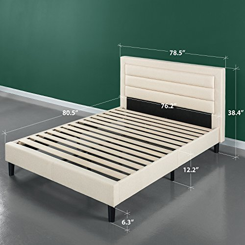 Zinus Upholstered Horizontal Detailed Platform Bed / Wood Slat Support, King