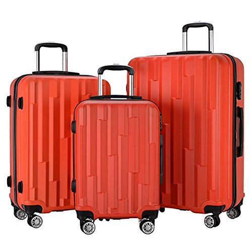 3 Pieces Lightweight Wheel Spinner Luggage Sets Hardside Suitcase ABS School Rolling Trolley with Lock ()