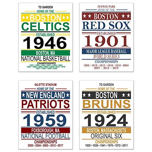 (Boston Vintage Sports Posters - Set of Four 11x14 Prints - Celtics, Red Sox, Patriots, Bruins - NBA, MLB, NFL, NHL Memorabilia Fan Art)