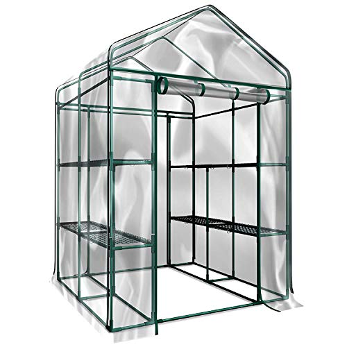 aHUMANs Green House 56″ W x 29″ D x 77″ H,4HOMART Walk-in Greenhouse with PE Cover,Strong Metal Frame,3 Tiers 6 Shelves with Roll-Up Zipper Door Plant Garden Outdoor Green House
