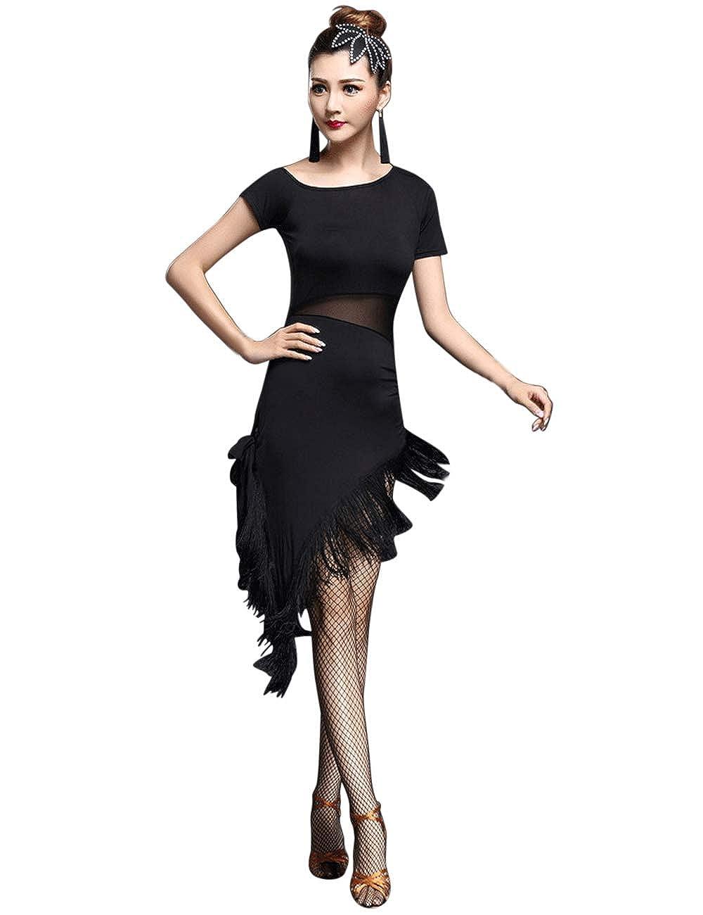 e3128c31 besbomig Sexy Tassel Latin Dance Dress Womens Party Performance Dancewear -  Ballroom Salsa Samba Tango Cocktail Dresses: Amazon.co.uk: Clothing