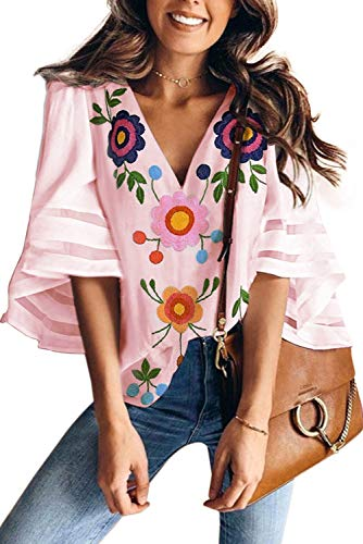 ONLYSHE Floral Printed Shirts for Women Henley V Neck Tunic Blouse Loose Fitting Summer Tops Pink XXL