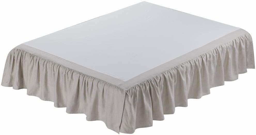meadow park Washed French Linen Bed Skirt, Dust Ruffle, King Size, Super Soft, Ruffle Style, Khaki Color