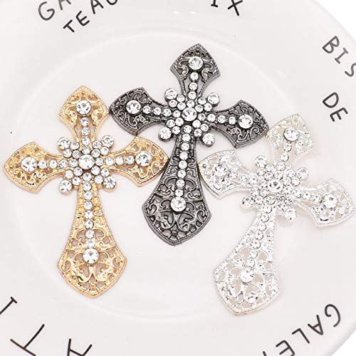 Timoo Rhinestone Cross Applique Patches DIY Embroidery Stickers for Sewing, 6 PCS (Gold, Sliver, Black)