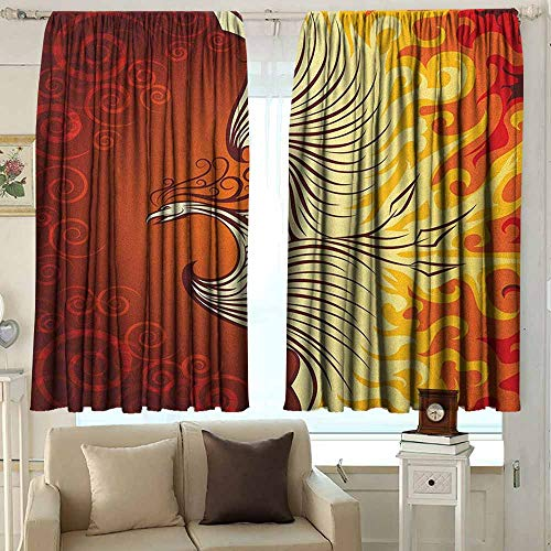 AFGG Outdoor Patio Curtains Orange Illustration of Flying Phoenix Bird in The Burning Flame Mythical Creature Print Curtains for Living Room 55 W x 45 L Inches Orange Yellow (Outdoor Patio Phoenix Curtains)