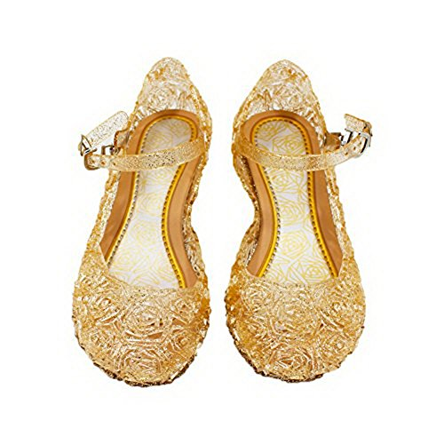 Cinderella Baby Girls Soft Crystal Plastic Shoes Children's Princess Shoes(Toddler/Little Kid) (13.5 M US Little Kid, Gold)