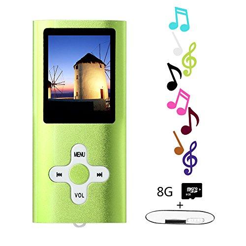 Btopllc Lecteurs MP3 8 Go Lecteurs MP3 MP4 Lecteur MP3 / MP4 Entrée audio numérique Compact Music Music Hi-Fi Lecteur MP3 Media Player (vert)