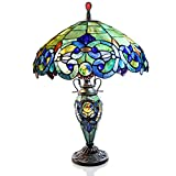 26″ H Stained Glass Victorian Style Double Lit Table Lamp – Blue