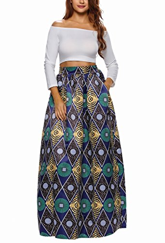 Afibi Women African Printed Casual Maxi Skirt Flared Skirt Multisize A Line Skirt (XX-Large, Pattern 4) by Afibi